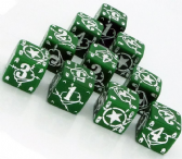 Green & White Battle D6 USA Dice Set